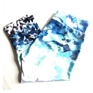 Fabletics Crop Leggings Watercolors Size XL
